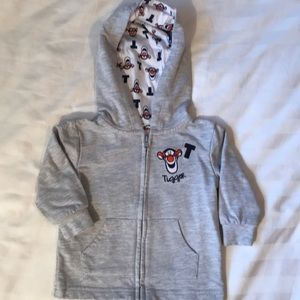 Disney baby Tigger emblem grey light zip hoodie